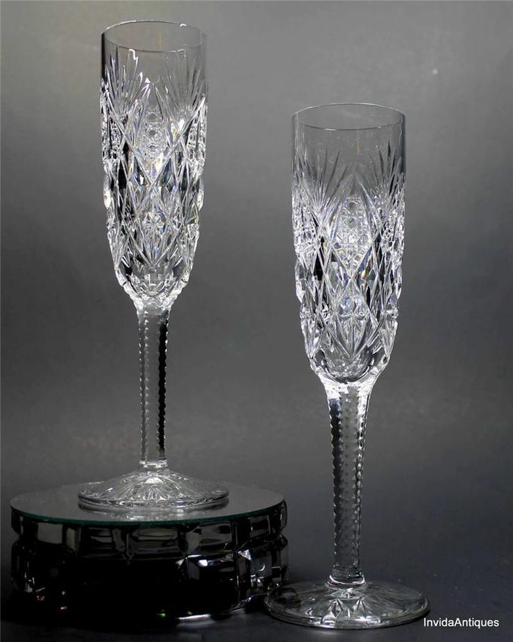 2 signed st louis cut crystal florence champagne fluted glasses stemw - Fluted wine glasses ...