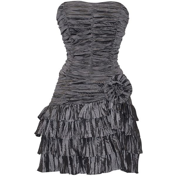 Crinkle Satin Strapless Ruffle Mini Dress