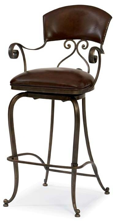 Social Hour Brown Leather Swivel Bar Stool W Arms Bernhardt Furnitu