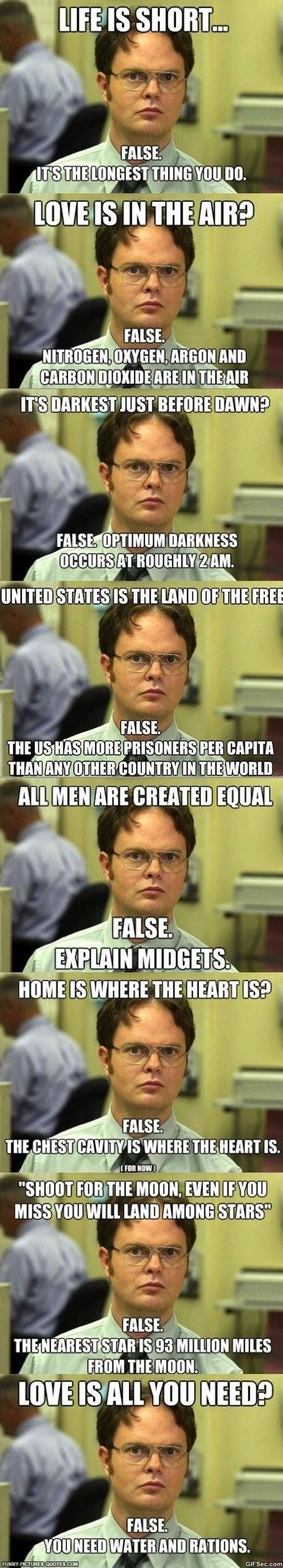 Funny Dwight Schrute quotes SOOPA FUNNAY Pinterest