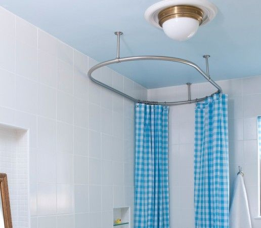 Bathroom, Oval Shower Curtain Rods In Ceiling Shower Curtains Colorful ...