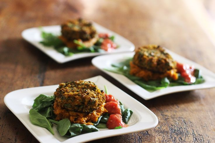 Harriet Emily: Spicy Chickpea and Spinach Burgers with Mashed Swe...