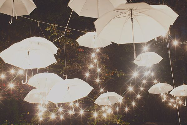 What unique reception decor! White umbrellas are strung up with white twinkle lights, giving this outdoor wedding reception a dreamy feel.