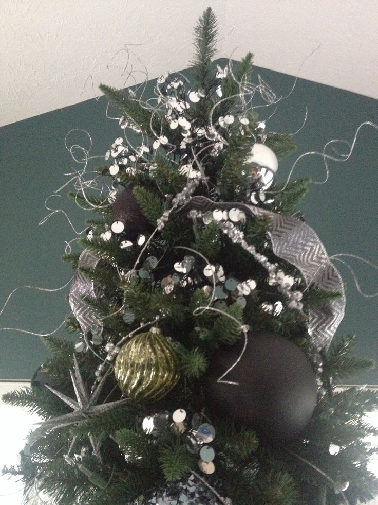 Black silver and green christmas tree christmas - Black and silver christmas ...