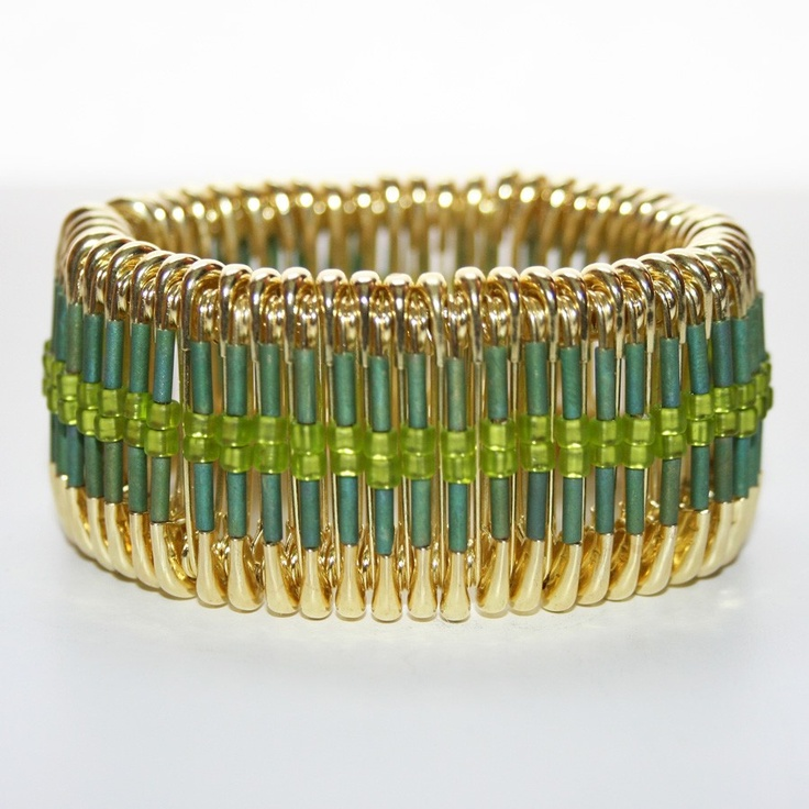 Spring green safety pin bracelet unique jewelry pinterest