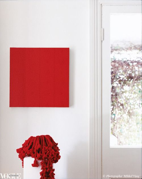 New Zealand artist Sarah Newell's vivid Red Bouquet No. 2 comprises the painting on canvas as well as the crocheted native ferns and vase, which are collectively inspired by her passion for native flowers. From 'Art & Soul', a story on page 117 of Vogue Living Jan/Feb 2009. Photograph by Mikkel Vang.