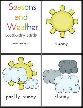 Seasons and weather vocabulary cards 10 pages 3 00