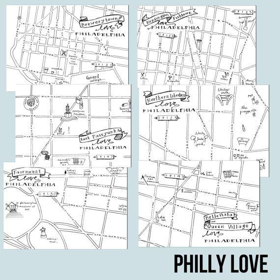 Fishtown HandDrawn Map Philadelphia