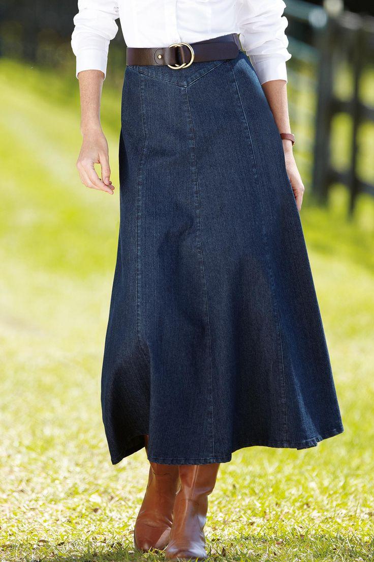 denim skirt gaucho fashion rural chic