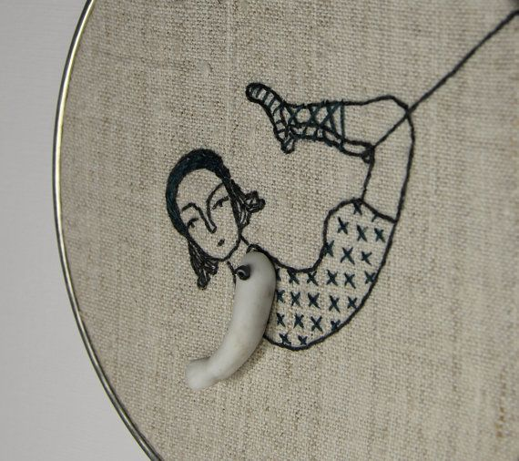 hand embroidery hoop art- the daring young girl, by MarysGranddaughter