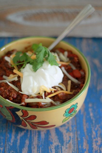 Hearty slow-cooker bulgur chili-This lady is a vegetarian and her ...