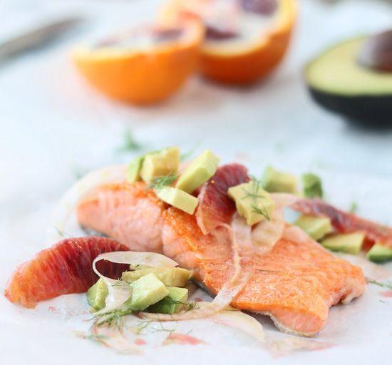 Salmon with Fennel, Avocado & Blood Orange Vinagrette | Cooking For ...