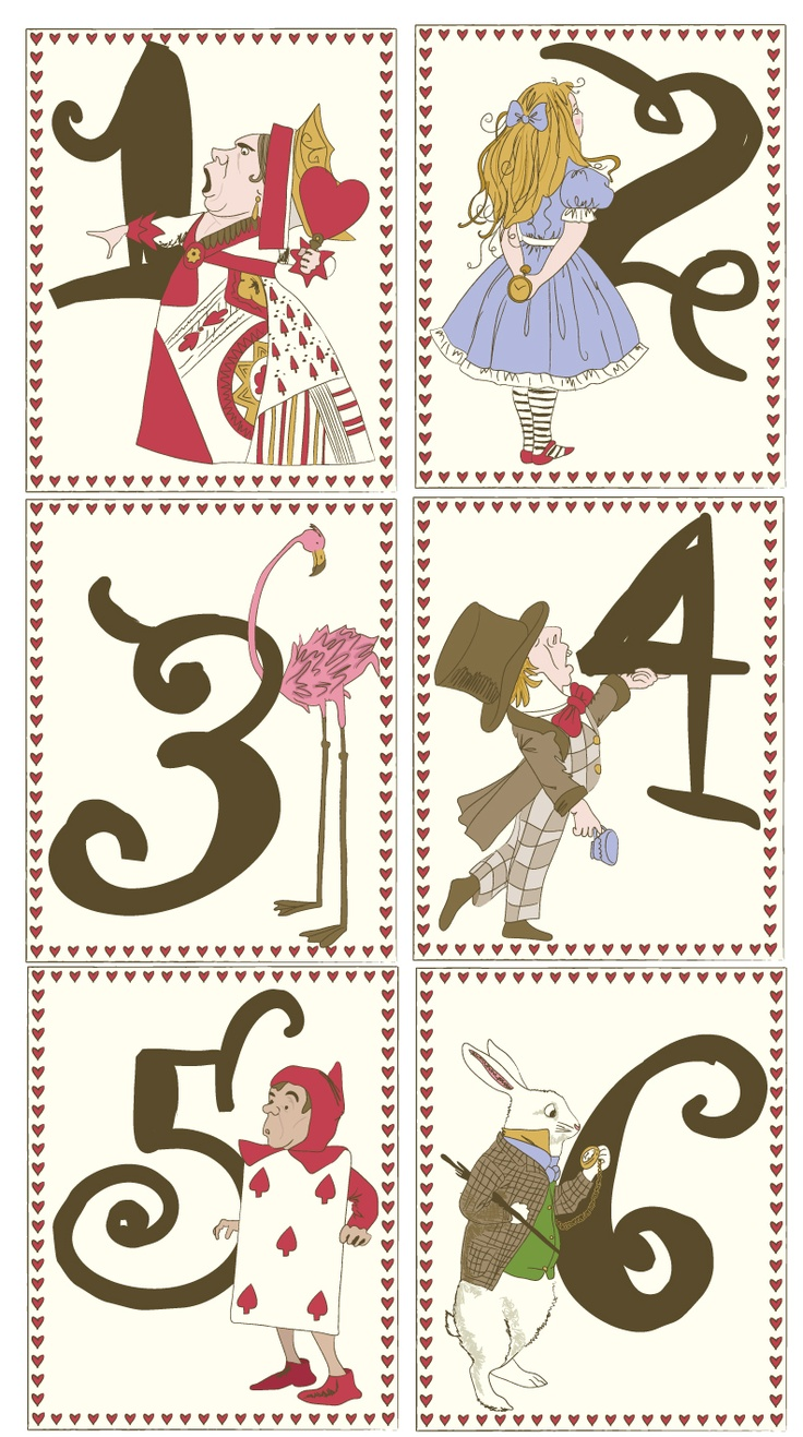 ~ Alice in Wonderland douche nuptiale Numéros de table à thème