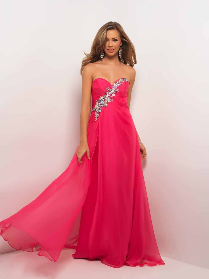 Blush Prom 9513 - Dramatic bustier in a formal prom dress! Stunning jewels and stones assymetrically drape the pleated bust which flows into clean chiffon. #prom