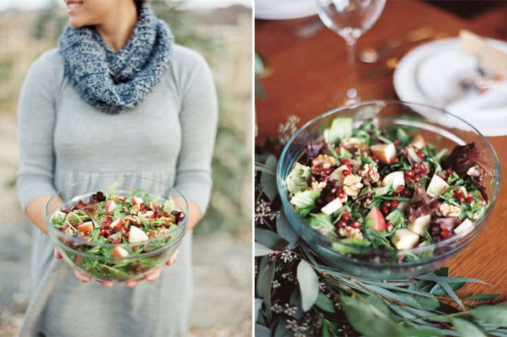 Winter Salad - with fresh spinach, arugula, pomegranate seeds, apples ...