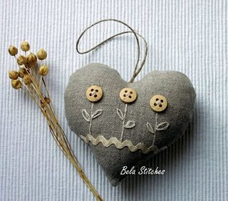 Button flowers on linen heart