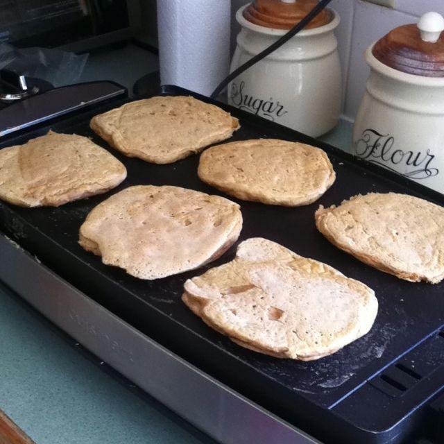 Pumpkin spice protein pancakes. Jamie Eason's recipe. :) so good!