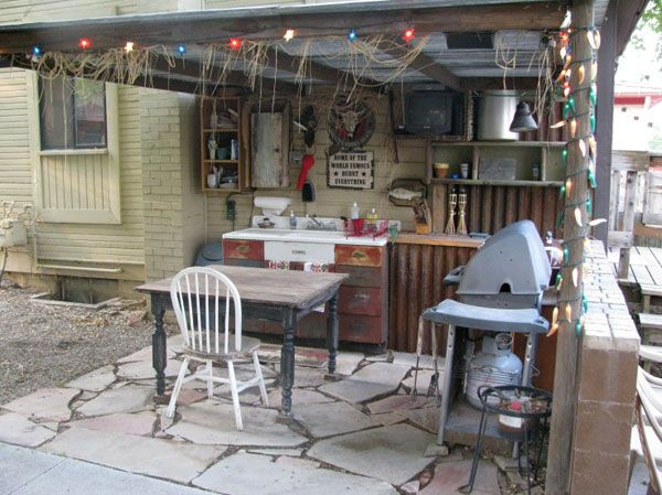 rustic oudoor kitchen man cave home ideas pinterest