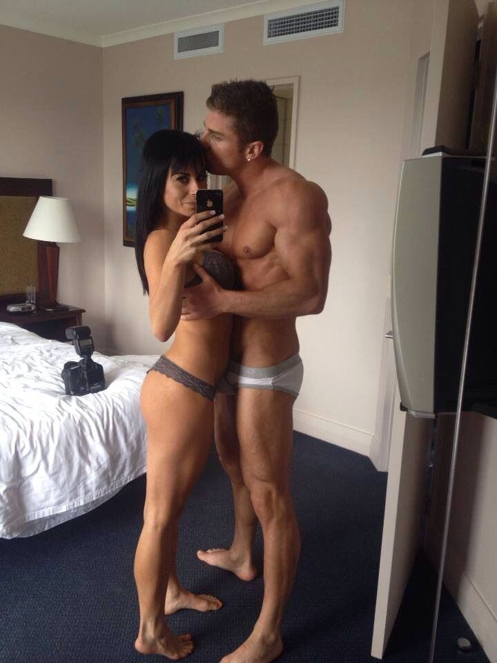 Fitness couple selfie