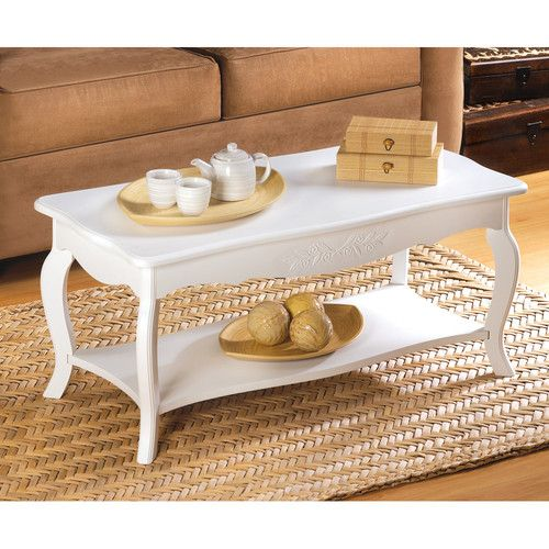 13226 Casual Cottage Style Coffee Table White Finish MDF Wood EBay