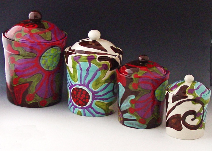 canister set of four urban fusion colorful pottery colorful kitchen purple tea coffee sugar bread box and