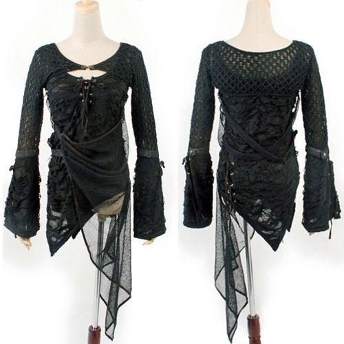Black Emo Burlesque Gothic Punk Scene Tops Clothes for Women