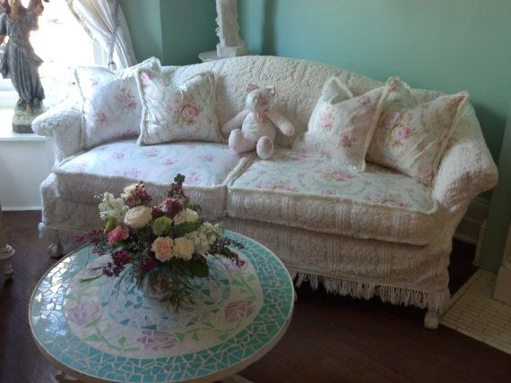 Shabby Chic Sofa Couch Slipcover Ed Vintage Chenille Bedspread Roses