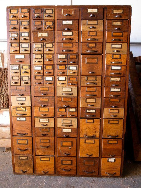 Card catalog hardware store cabinet