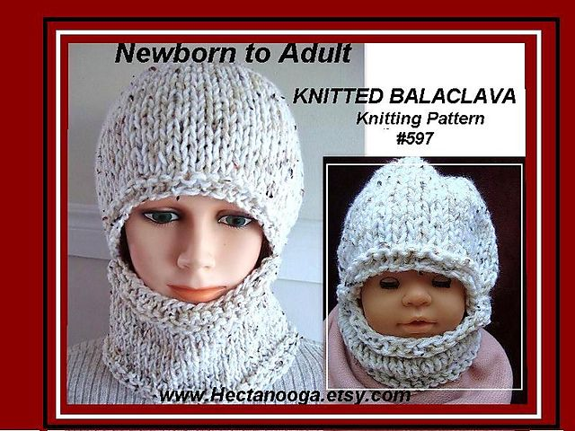 597 KNITTED BALACLAVA, baby to adult pattern by Emi Harrington