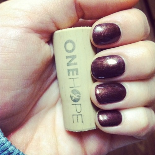 Shellac nails and One Hope Wine cork in honor of Breast Cancer month