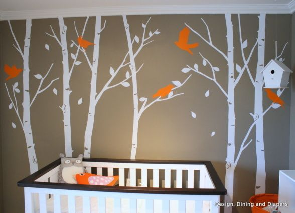 Nursery with trees and birds.