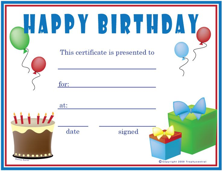 Free Printable Gift Certificate Forms   Free Certificates: Birthday ...