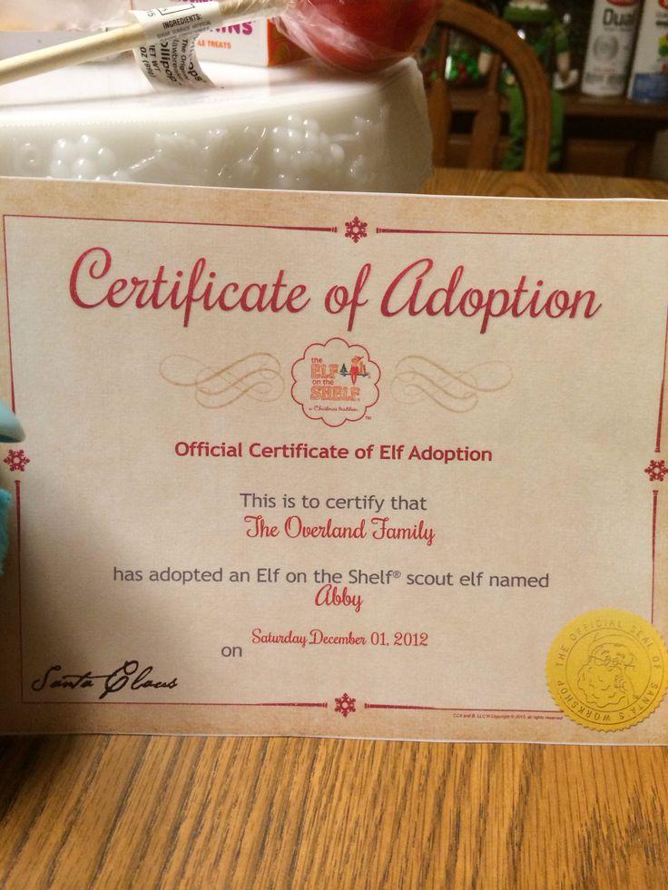 Elf on the shelf adoption | Elf on shelf ideas | Pinterest