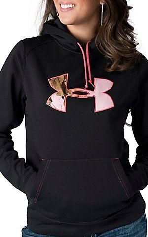 under armour174 womens black with pink camo logo tackle