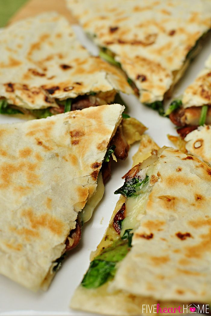 Spinach and Mushroom Quesadillas with Avocado and Pepper Jack Cheese ...