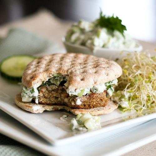 Quinoa Burger And Tzatziki Sauce Recipe — Dishmaps
