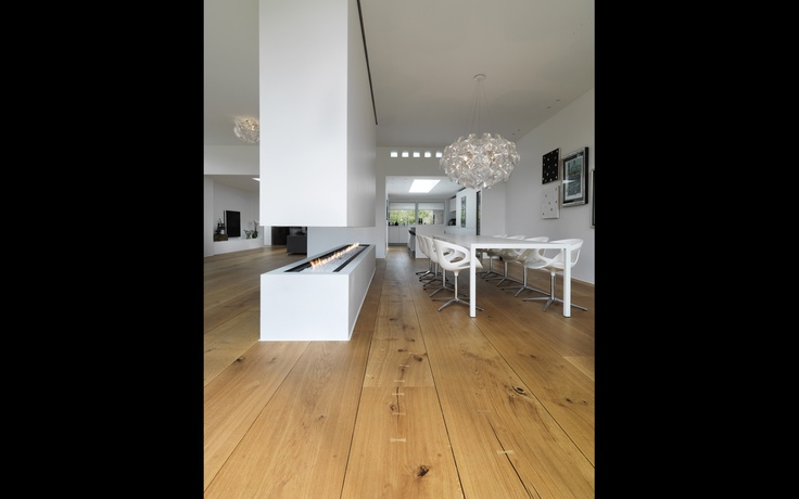 :: DETAILS :: Photo Credit: Private residence, DenmarkLars Gitz Architects – Dinesen HeartOak T 30 W 400-525 L 2,5-6 m - Underfloor heating.  Love the fireplace and the wide plank floors #details