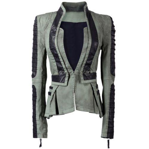 Women Denim PU Leather Contrast Zip Sleeves Pleated Tuxedo Top Jacket