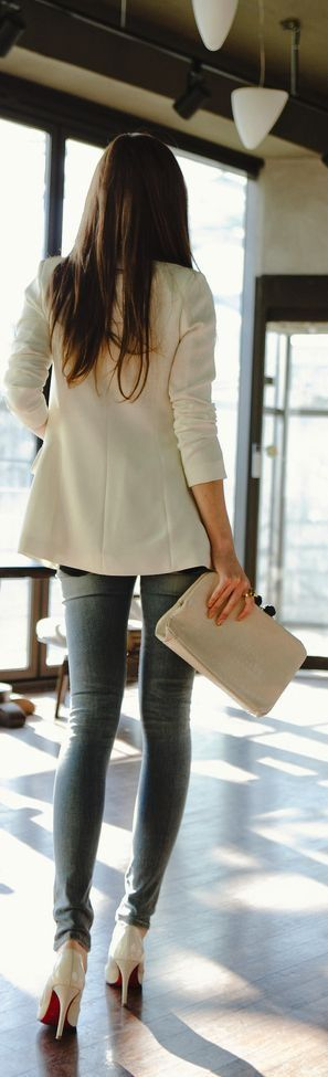 white coat, jeans and pumps