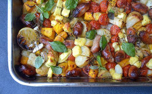 Sausage, Pumpkin, Potato and Halloumi Tray-Bake   Scrumptious South ...