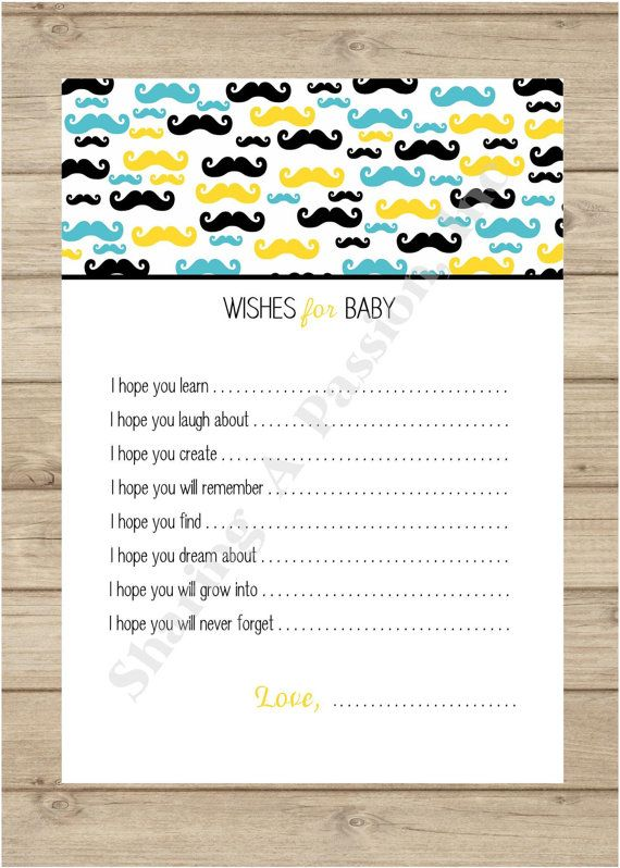 Baby Shower For A Boy Games ~ Mustache baby shower wishes for boy