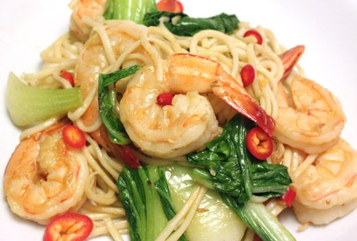 Shrimp, Bok Choy, Noodles, and Oyster Sauce Recipe