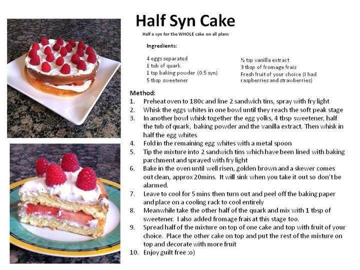 Half a syn cake slimming world pinterest One you slimming world