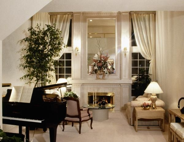 Living room with grand piano home decor ideas for Piano for small space