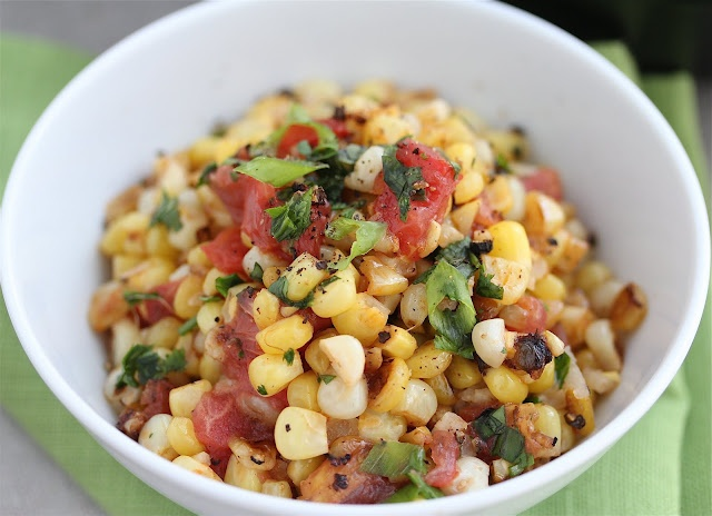 Warm Roasted Corn Salsa-- yum topping for grilled fish or chicken or ...