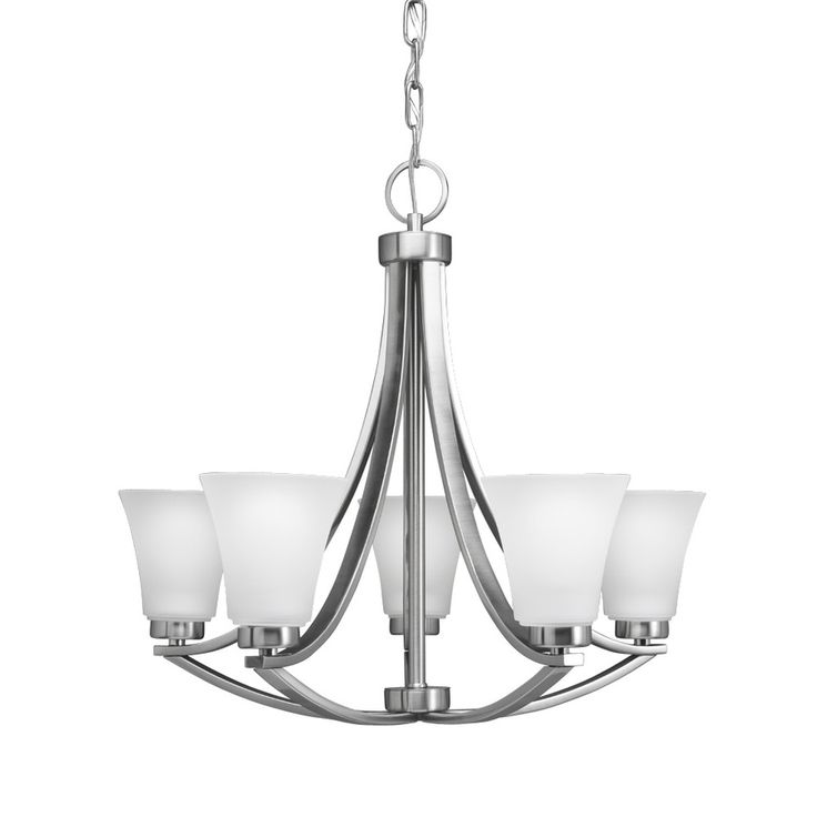 shop portfolio lyndsay 5 light brushed nickel chandelier at. Black Bedroom Furniture Sets. Home Design Ideas