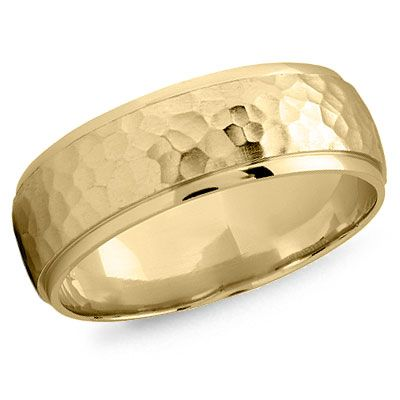 Men's gold hammered wedding band