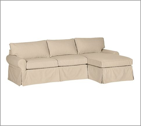 PB Basic Slipcovered Sofa With Chaise Sectional