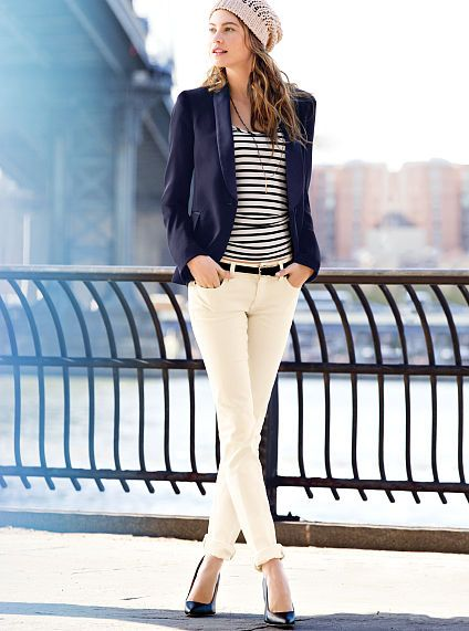Blue Coat With Cute Striped T-shirt And White Jeans
