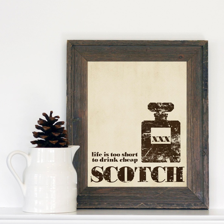 Life is too Short to Drink Cheap Bourbon - Textured Distressed Brown Beige Taupe Art Print -  Mad Men Husband Fathers Day Man Cave